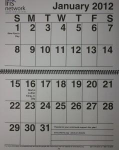Iris Network Large Print Calendar for 2012